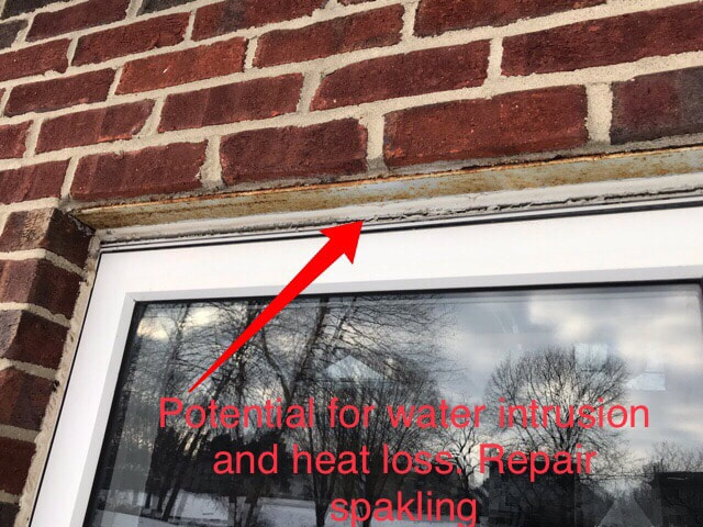 Potential for water intrusion and heat loss, repair spakling